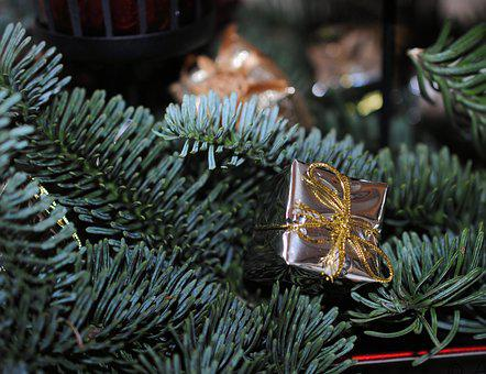Fir, Christmas Decorations, Package, Gold, Christmas