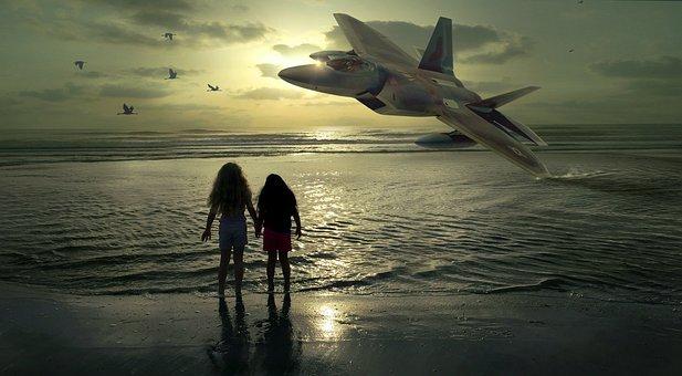 Beach, Girl, Sunset, Aircraft, Fighter Jet, Bomber, Sea