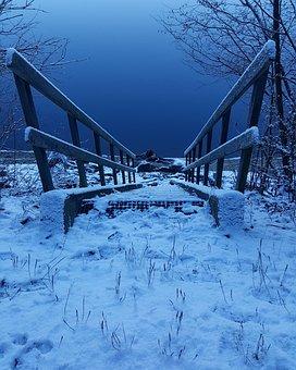 Winter, Nature, Lake, Stairs