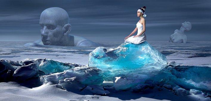 Fantasy, Glacier, Ice, Woman, Landscape, Surreal, Mood