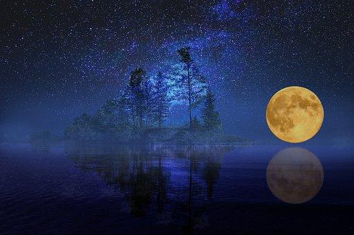 Full Moon, Landscape, Sea, Lake, Island, Bank, Trees