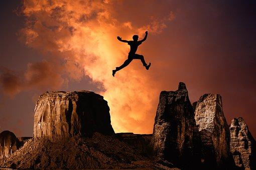 Mountain, Jump, High, Rock, Boy, Silhouette, Leisure