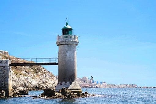 Marseille, Sea, Lighthouse, France, Blue, City