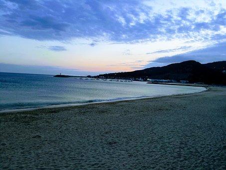 Beach, Sunset, Mar, Ocean, Sky, Night