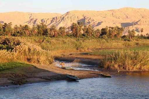 Egypt, Sunset, Fishing Boats, Nile, Nile Cruise