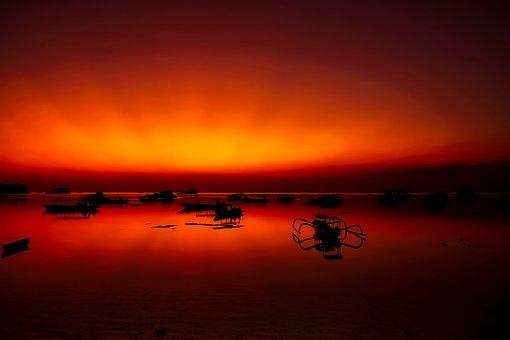 Indonesia, Sunset, Dusk, Beautiful, Sea, Ocean, Bay