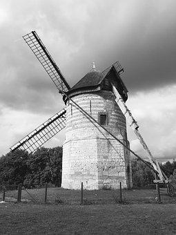 Windmill, Black And White, Outdoor, Landscape, Cafe