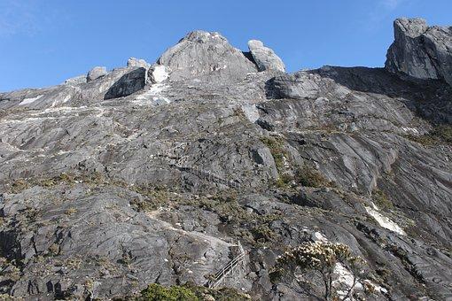 Mountain, Grey, Peak, Sun, Shadow, Stairs
