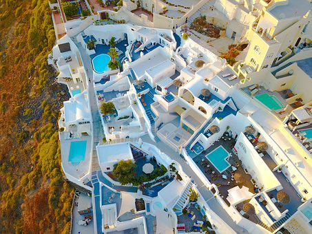 Santorini, Drone, Photo, Greece, Pool, Holidays
