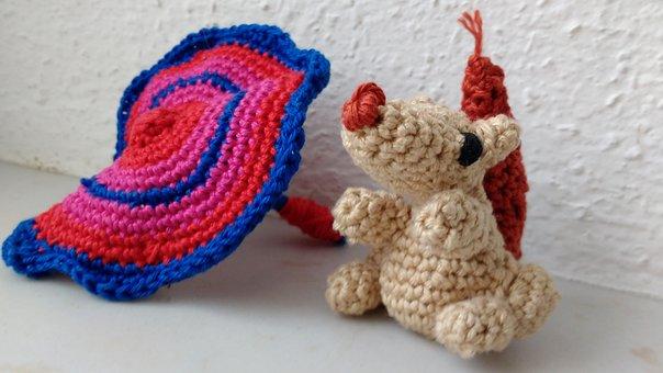 Amigurumi, Crochet, Squirrel, Screen, Hand Labor, Wool