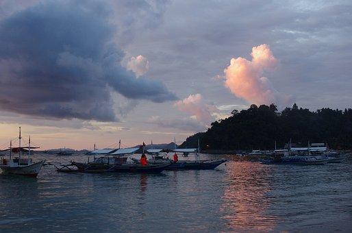 Sunset, Sunrise, Philippines, Island, Sea, Clouds