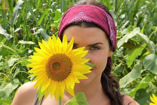 Sun Flower, Girl, Face, Sun, Summer, Heat, Skin, Hair