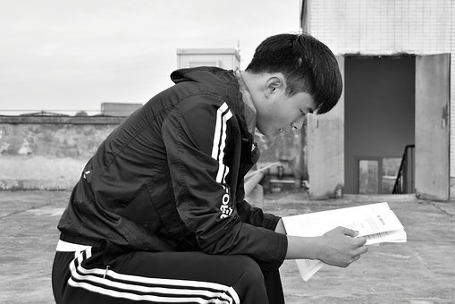 The Reader, University Student, Black And White, Roof