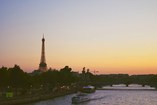 Sunset, Purple, Paris, France, Europe, Travel, Calm