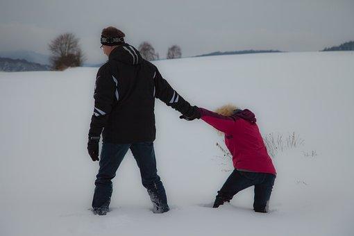 Snow, Trudge, Sink, Winter, Snow Tramp, Footprints