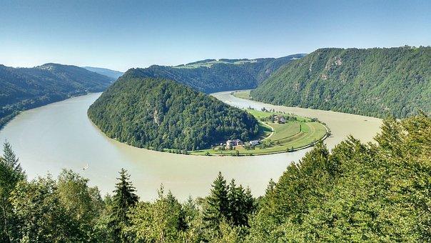Danube, Schlögen, Danube Loop, Upper Austria, View
