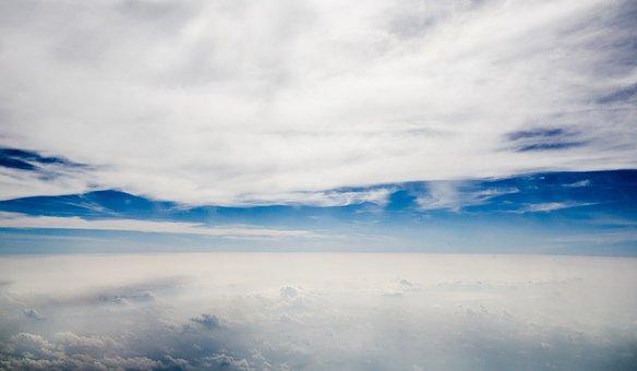 Sky, Blue, Blue Sky, Plane, Asia, Clear, Natural, Cloud