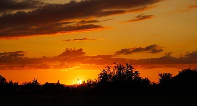 Sunset, Sun, Setting Sun, Abendstimmung, Sky, Clouds
