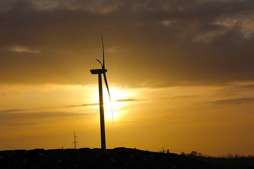 Wind Turbine, Sunshine, Hot, Denmark, Summer
