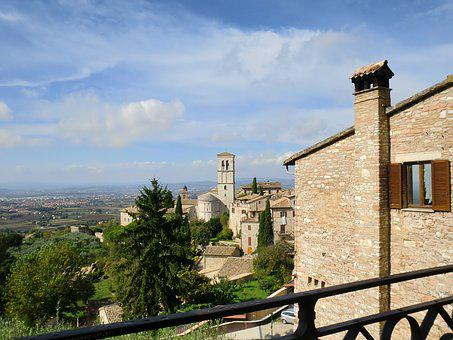 Assisi, Umbria, Landscape, Italy, Pink Stone, Medieval