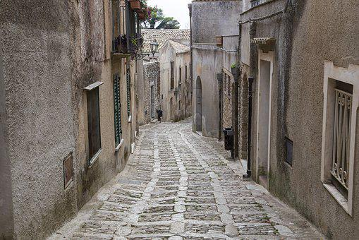 Erice, Old Town, Narrow Street, Italy, Old, Sicily