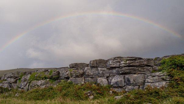 Ireland, Landscape, Rainbow, Stones, Sky