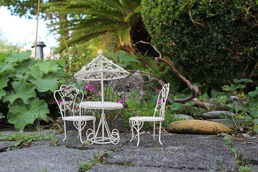 Mini Garden, Picnic, Barbecue, Table, Chairs