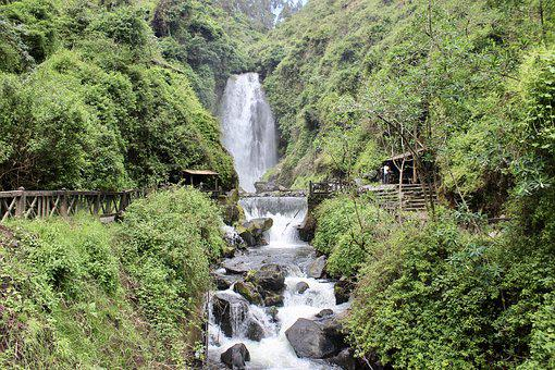 Waterfall, Peguche, Otavalo, Whitewater, Water, Cascade