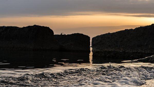 Sea, Stones, Boulders, Surf, Tidal Bore