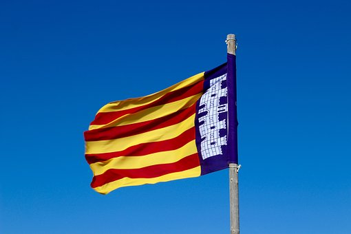 The Flag Of The, Catalonia, The Catalan Flag, Spain