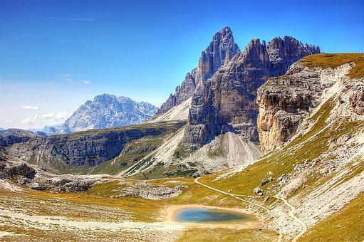 Dolomites, Three Zinnen, Mountains, Alpine, Italy, Rock