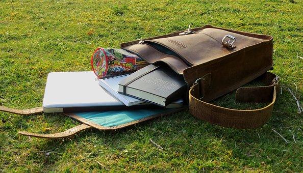Stationery, Leather Bag, Satchel, Bag, Laptop, Grass