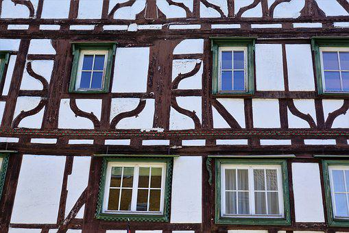 Home, Mühlheim, Facade, Truss, Old, Middle Ages, White