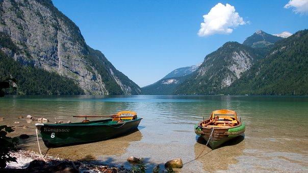 Lake, Boats, Water, Boat, Nature, Landscape, Mountains