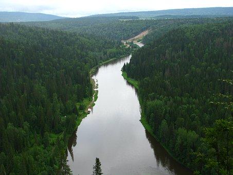 R, Usva, Perm Krai, River, Sky, Nature, Landscape