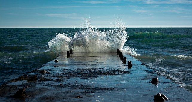 Wave, Pier, Pierce, Spray, Sea, Sea Wave, Sky