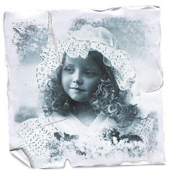 Vintage, Little, Girl, Collage, Paper, Stained, Texture