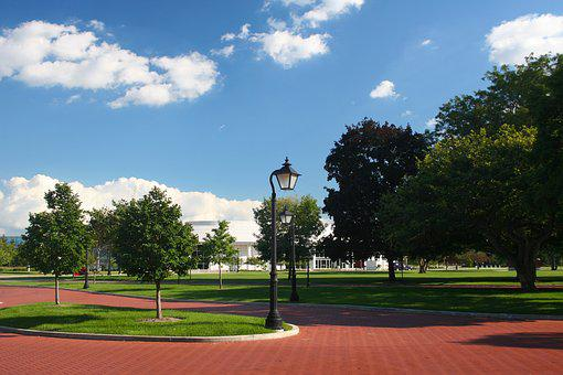 City, Park, Garden, Day, Street Light, Summer, Trees