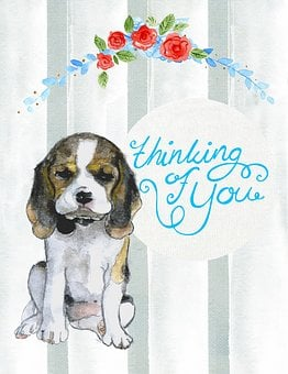 Thinking Of You, Puppy, Dog, Card, Greeting, Watercolor