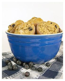 Blueberry, Muffins, Bowl, Breakfast, Berry, Sweet, Blue