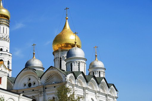 Cathedral, Church, White, Building, Golden Dome