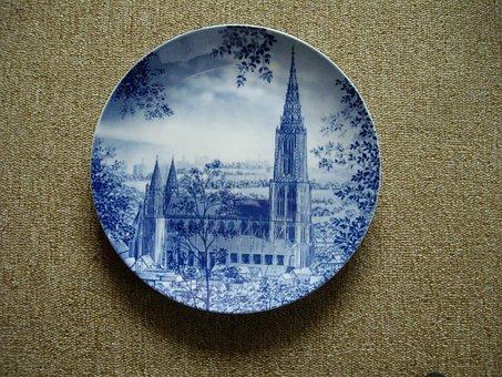 Decorative Plate, Ceramic, Blue, Decoration, Fragile
