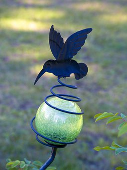 Garden, Decoration, Hummingbird, Blue, Green, Bowl