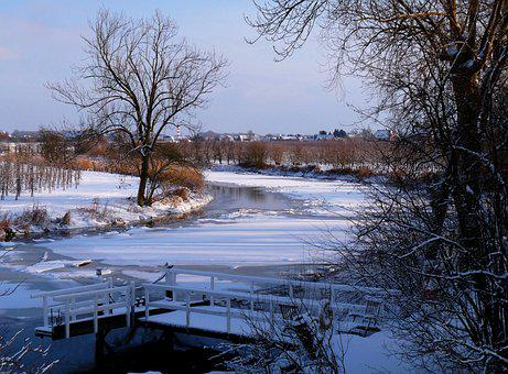 Lühe, Old Country, Winter, Mood, Nature, Maritime