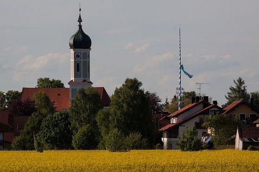 Church, Onion Dome, Baroque, Upper Bavaria, Rural