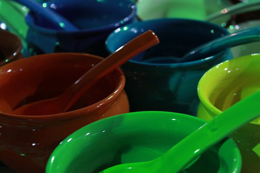 Green, Blue, Brown, Ceramic, Bowls, Colorful, Soups