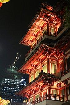 Temple, Red, B, Architecture, Landmark, Culture