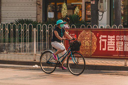 Pollution, China, Chinese, Asian, Cycle, Cyclist