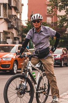 Cyclist, Cycle, Bicycle, Asian, China