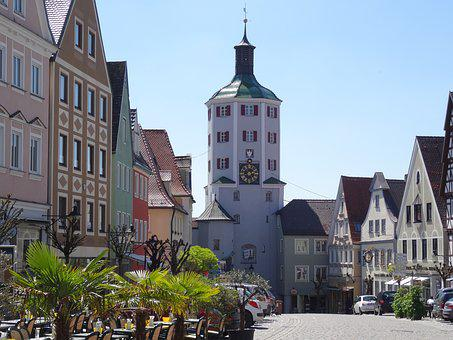 Günzburg, Bavaria, City Gate, Architecture, Towers